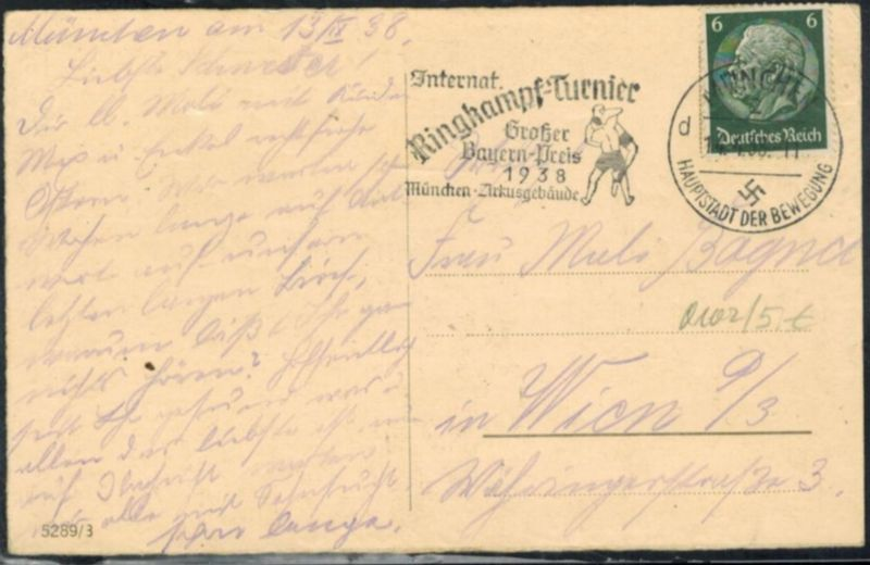 Sport 1938 seltener Sonderstempel Intern. Ringkampfturnier München Zirkusgebäude