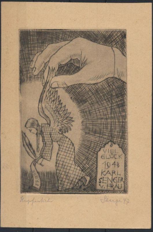 Bild Malerei Autogramm Künstler Kupferstich Autograph Karl Senger