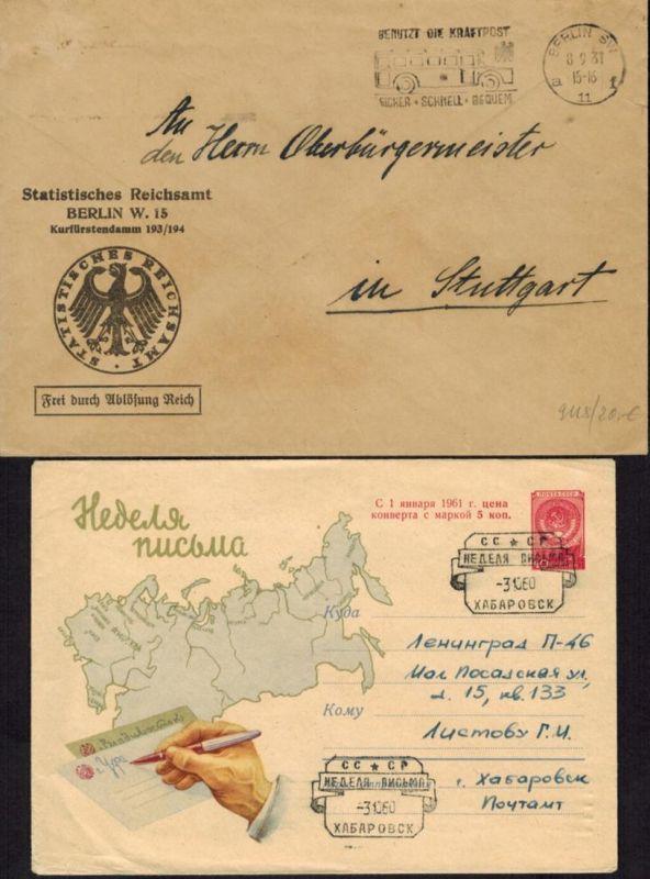Kartographie Landkarten Sammlung Briefen Karten & Ganzsachen aus ca. 1891-1967