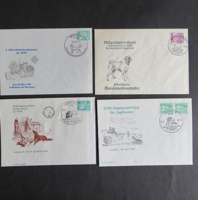 Briefe und Karten Sammlung Motiv Hunde DDR mit inter. Vielfalt 7 Stück dabei