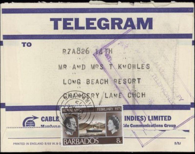 Barbados Telegramm mit 8c