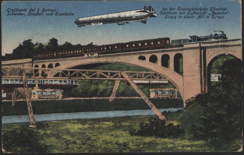 Ansichtskarte Elberferld Zeppelin Eisenbahn Schweb + Straßenbahn Brücke Parey