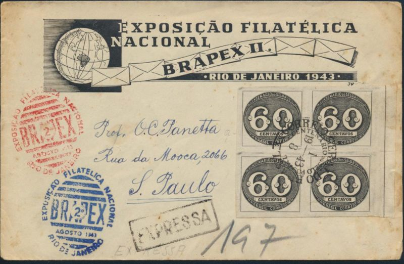 Brasilien Express Brief 634 Viererbock 100 Jahre Briefmarken Philatelie Brasil