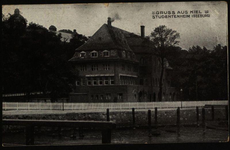 Anischtskarte Kiel Studentenheim Marine Schiffspost 1915 nach Wedel Schulau