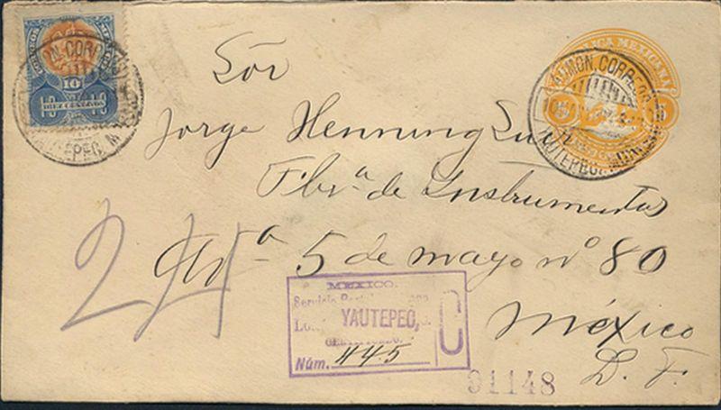 Mexiko Ganzsache Einschreiben Umschlag U 53 5c Adler Farbänderung orangegelb