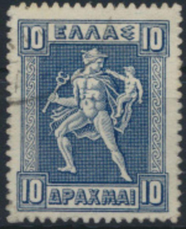 Griechenland 172 gestempelt - 10 Dr. Freimarke Hermes und Arkas 1911