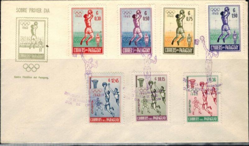 Paraguay 834-840 Basketball Sport 1960 dekorativer Sonderumschlag Sonderstempel