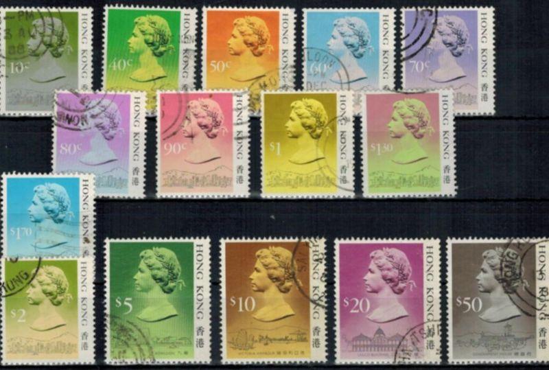 Briefmarken Hongkong 507-521 Freimarken Königin Elizabeth II. ohne Jahreszahl