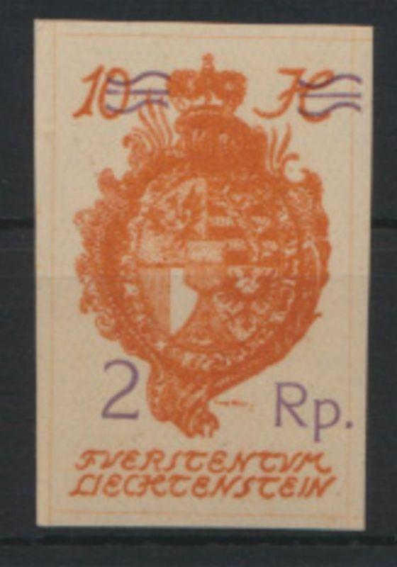 Liechtenstein 44 IV Landeswappen mit Aufdruckfehler IV Luxus postfrisch Kat 65,-
