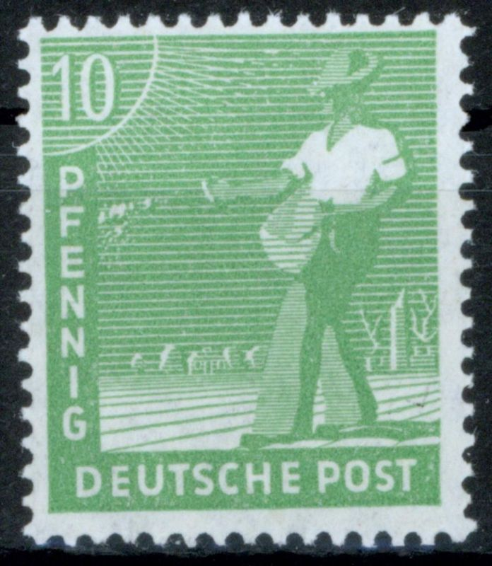 Gemeinschaftsausgabe 946 - 10 Pf gelblichgrün Sämann, tadellos postfrisch