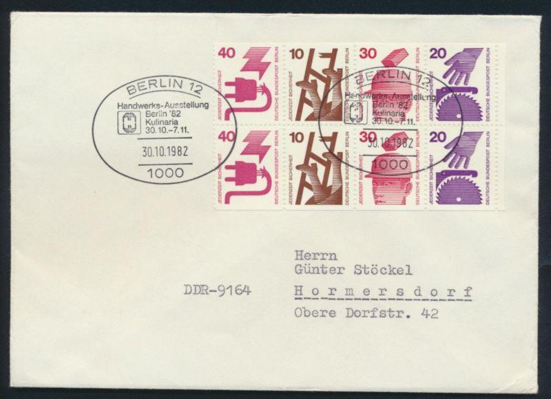 Berlin Brief H-Bl.17 Rand Heftchenblatt Zusammendruck SST Berlin Handwerk