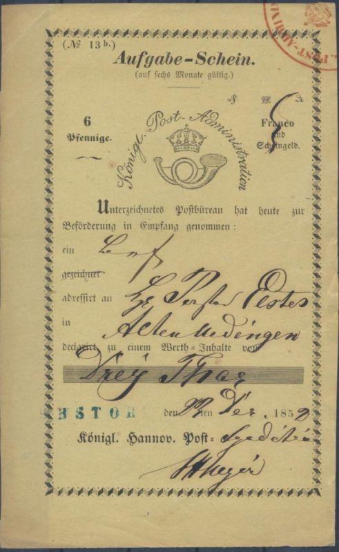 Altdeutschland Hannover Aufgabeschein bl. L1 EBSTORF Königl Post Administration