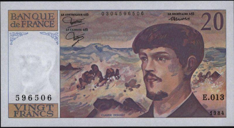 Geldschein Banknote Frankreich 20 Francs 1984 I. UNC 151
