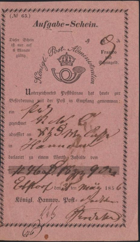 Altdeutschland Hannover Aufgabeschein hs Ebstorf Königl Post Administration 1856
