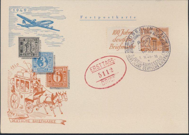 Berlin Karte Bauten Zusammendruck W 5 Flugpost 100 Jahre Briefmarke FDC SST