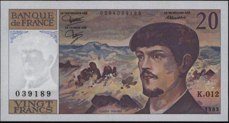 Geldschein Banknote Frankreich 20 Francs 1983 II. EF 151