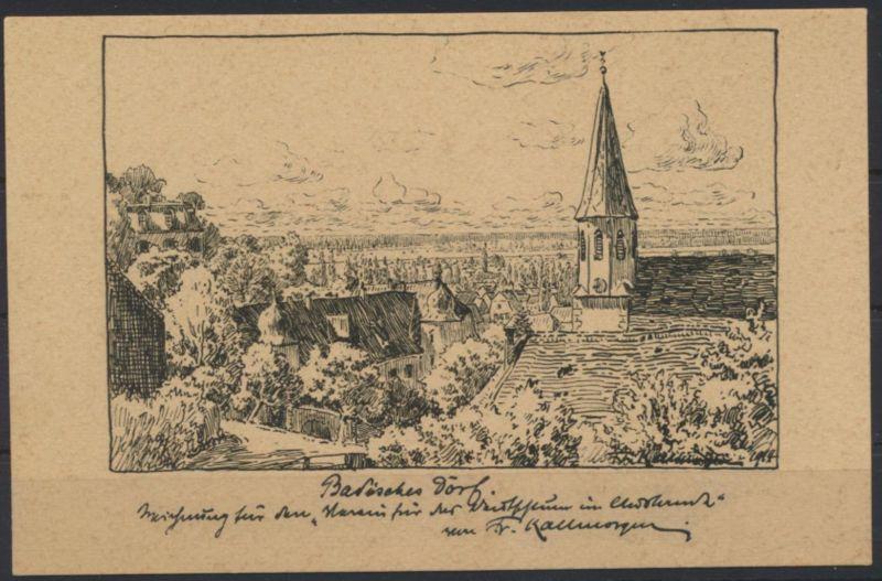Ansichtskarte Deutsche Künstler Postkarten 196 sig Fr Kallmorgen Badisches Dorf