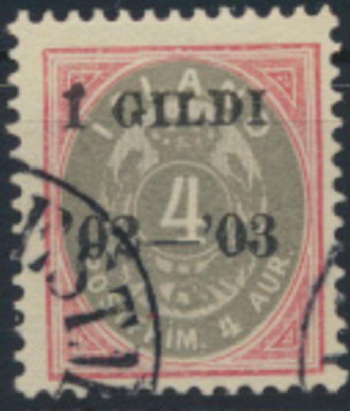 Island 25 B gestempelt - Freimarke 1902 mit Aufdruck I GILDI