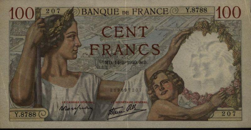 Geldschein Banknote Frankreich 100 Cent Francs 1940 III. VF 94