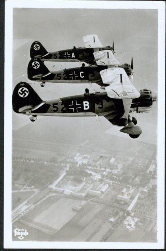 Ansichtskarte Flugzeug Luftwaffe Sturzkampfeinsitzer Hs123 Fliegerstempel Wurzen