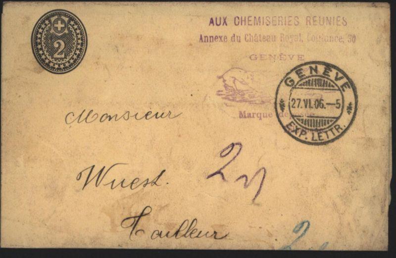 Schweiz Streifband 2 c mit viol. Reklame-Stempel Genf 27.6.1906
