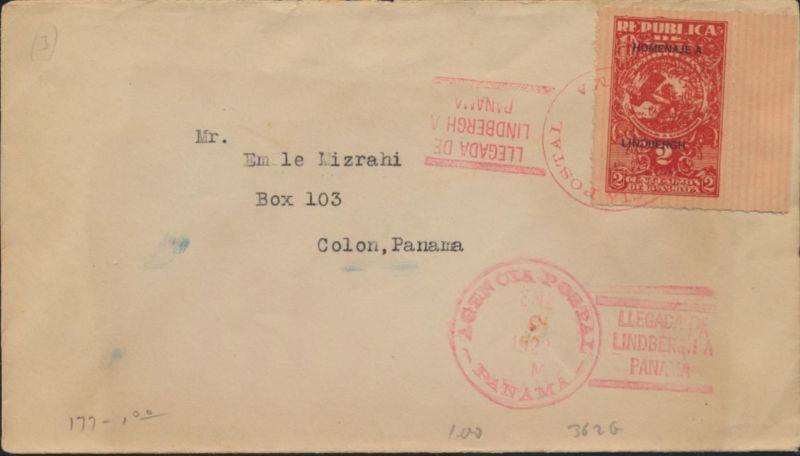 Panama Flugpost Brief 142 vom rechten Rand SST Colon Charles Lindbergh Flugzeug