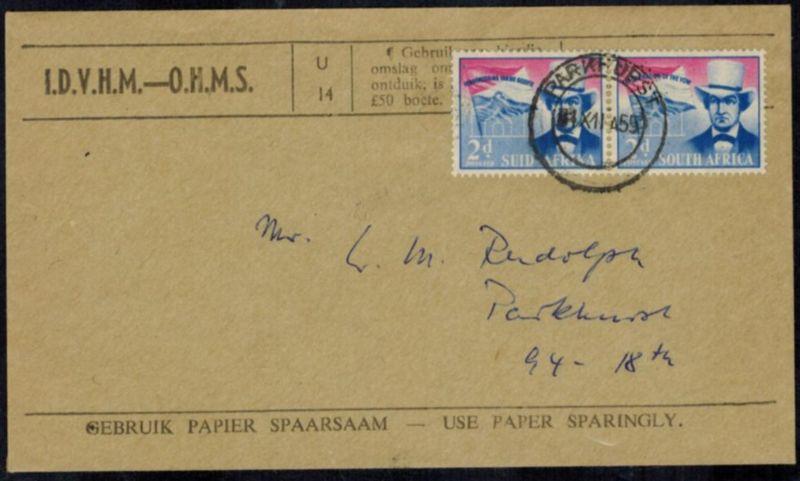 Südafrika 255-256 Brief FDC Pioniere 2d Paar 1955 Parkhurst