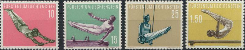 Liechtenstein 353-356 Sport IV.  Ausgabe 1957 tadellos postfrisch