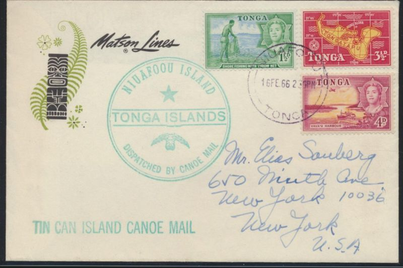 Niuafo'ou Insel Tin Can Island Tonga Blechdosenpost attr. Brief n. New York USA