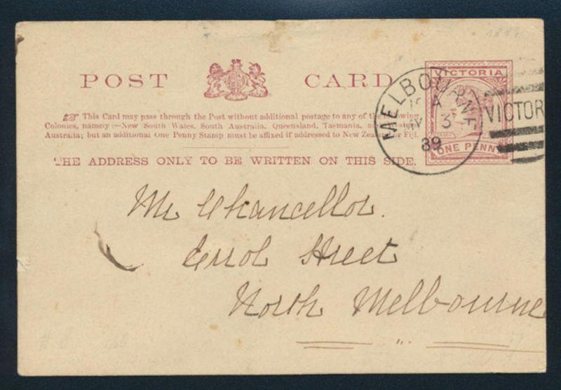 Victoria Ganzsache Queen Victoria 1 P. lilabraun P 7 Melbourne 3.5.1889