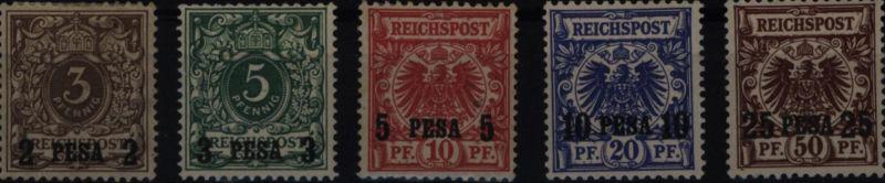 Kolonien Deutsch-Ostafrika 1-5 Aufdruck Krone Adler ungebraucht Kat.-Wert 280,00