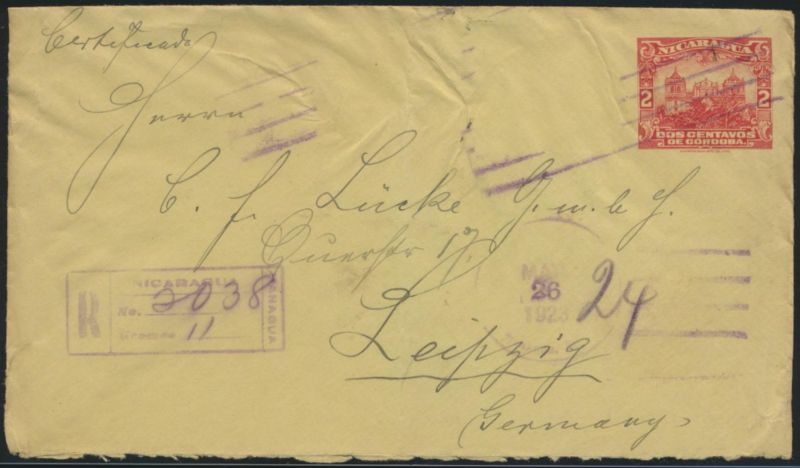 Nicaragua Ganzsache Umschlag postal stationery 2 cent Einschreiben nach Leipzig