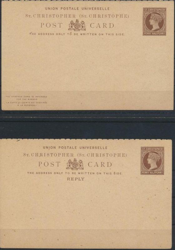 St. Christoph Ganzsache 1 1/2p Victoria Frage Antwort postal stationery Question