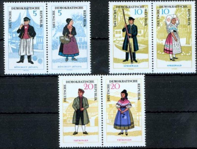 DDR 1074-1079 ZD, Volkstrachten I, 3 Zusammendrucke postfrisch