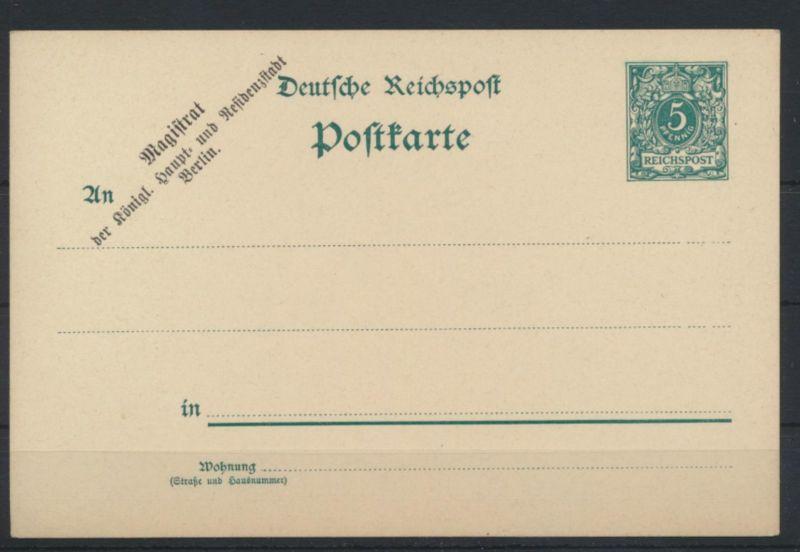 Dt. Reich Ganzsache Zudruck Magistrat der königl. Haupt -u. Residenzstadt Berlin