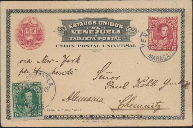 Venezuela Ganzsache P 14 red + ZuF postal stationery from Maracaibo to Chemnitz