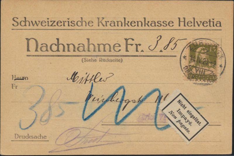 Postsache Schweiz Nachnahmekarte EF 139x Tell Zürich 1920 Zettel nicht eingelöst
