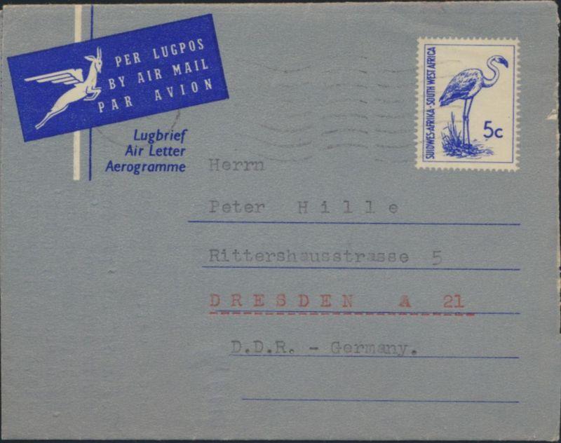 Südwestafrika Namibia Ganzsache Vögel Luftbrief Aerogramme Luderitz Dresden