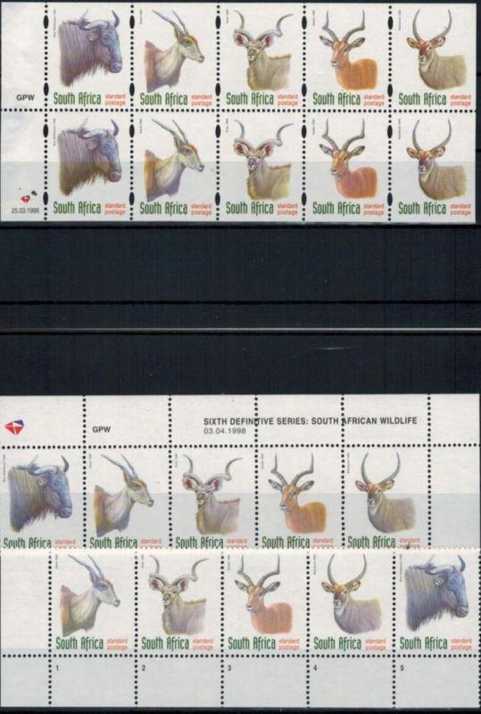 Südafrika 1124-8 Tiere Paarhufer Lot 2 verschiedene 5er Streifen + Heftchenblatt
