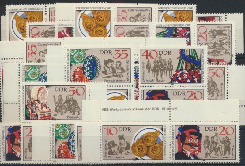 DDR 2716-1 Sorbische Volksbräuche kpl.18 Zusammendrucke incl. 1x Druckvermerk