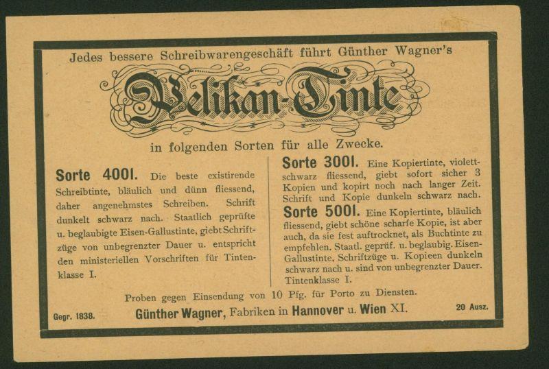 Deutsches Reich Privatganzsache PP 8 B 8 03 Reklame Pelikan Wagner Hannover