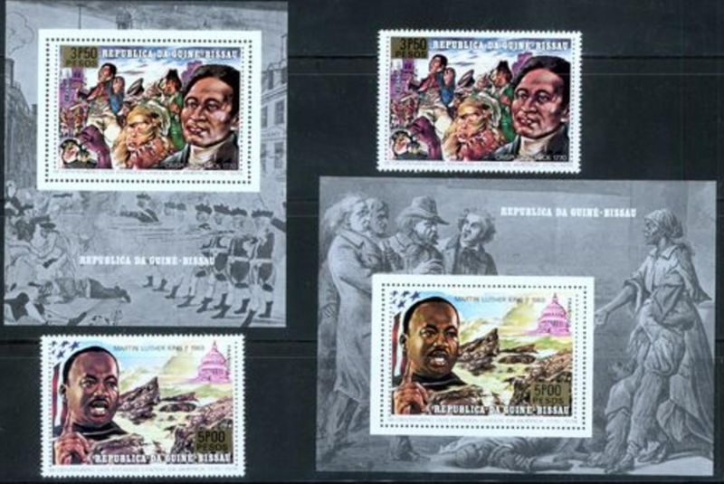 Elfenbeinküste 200 Jahre USA, 2 Werte u. 2 Einzelblocks tadellos postfrisch 1977