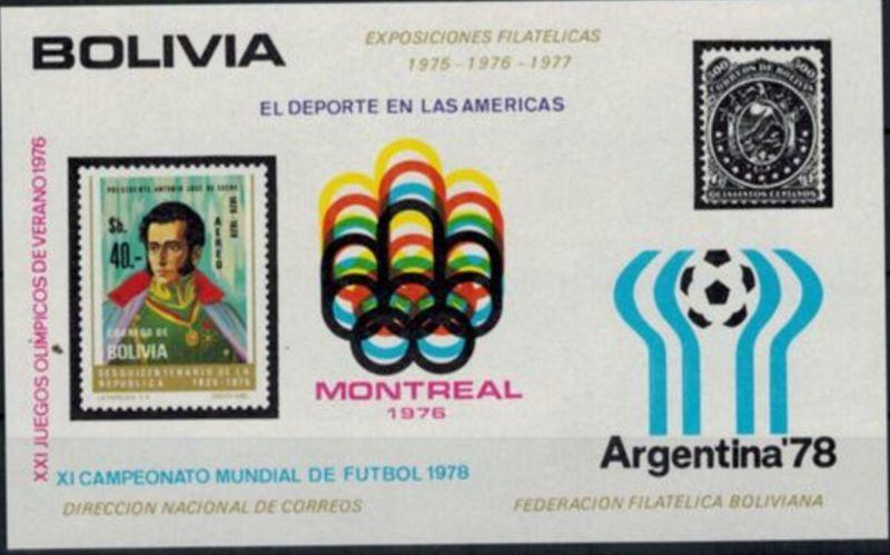 Bolivien Olympia Sport Block Sommerspiele Montreal u. Fussball-WM Argentinien