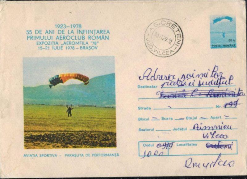 Rumänien Sport 1979 seltener, schöner Ganzsachenumschlag Gleitflieger