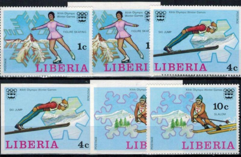 Liberia Olympia Sport Innsbruck, Satz- u. Blockausgabe gezähnt/ungezähnt