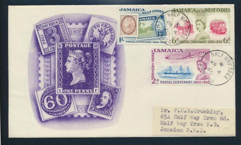 Jamaika Brief 180-182 100 Jahre Briefmarken FDC ab Half Way Tree 4.1.1960
