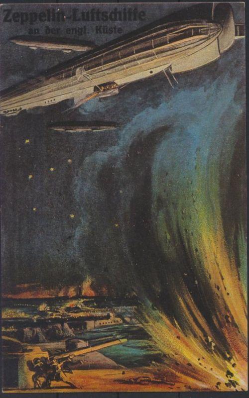 Ansichtskarte Zeppelin Luftschiffe an der englischen Küste
