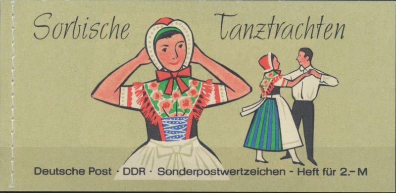 DDR Markenheftchen 5 II 1b Sorbische Tanztrachten 1971 postfrisch **