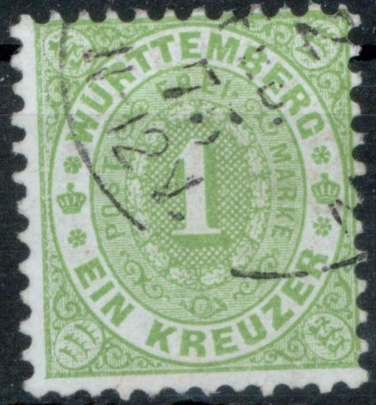 Württemberg 43 1 Kr gelbgrün Ziffer im Oval sauber gestempelt Kat 50,00