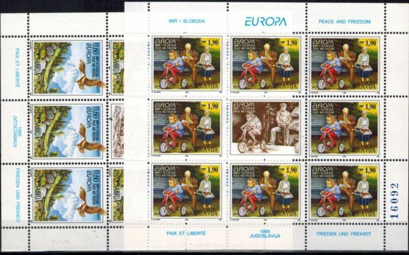 Jugoslawien 2712-2713 Europa-CEPT 1995 Frieden und Freiheit Kleinbogensatz **
